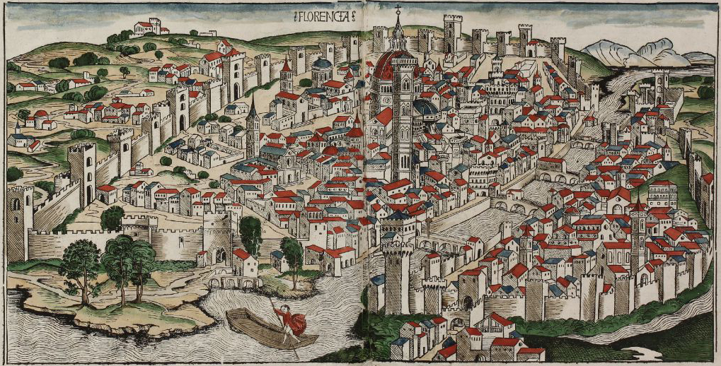 Coloured woodcut town view of Florence 1493
