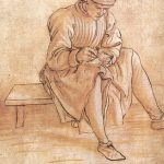 Maso Finiguerra, Seated boy drawing, c. 1460, black chalk, pen and ink, brown wash on paper rubbed with red chalk, 194 x 125 mm, Florence: Gabinetto dei Disegni e Stampe degli Uffizi