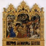 Gentile da Fabriano, The Adoration of the Magi, Strozzi A/P, 1423, tempera, gold, pastiglia (moulded plaster with gold leaf) on panel, Uffizi Gallery, Florence.