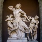 Hagesandros, Polydoros and Athandoros of Rhodes, Laocoön and his sons, from Emperor Titus's palace, Rome, c.160 BC and 20 BC?, Roman copy of a Greek sculpture(?), marble, Vatican Museums, Museo Pio Clementino.