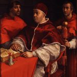 Raphael, Portrait of Pope Leo X with Cardinals Giulio de' Medici and Luigi de' Rossi, c.1517-18, Uffizi Gallery, Florence