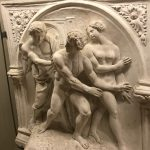 Tito Sarocchi, Expulsion of Adam and Eve from Paradise, gesso modello for replica fountain, 1858-68, Ospedale della Scala, Siena